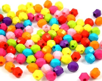 x 50 MIX beads acrylic faceted 6mm