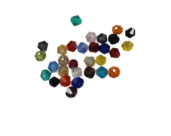 X 25 MIX bead glass bicone faceted 4mm