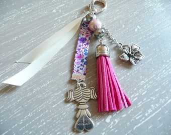 Bag charm with pink tassel, beads and charm