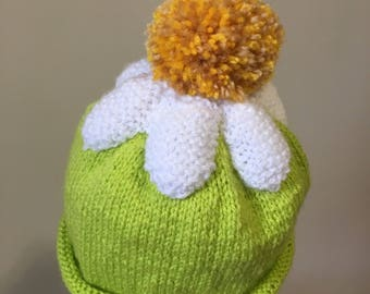 Hand Knitted Daisy Beanie Hat - age 2yrs (approx.)