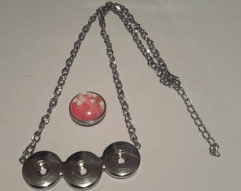 support necklace triple pendant button pressure 18mm
