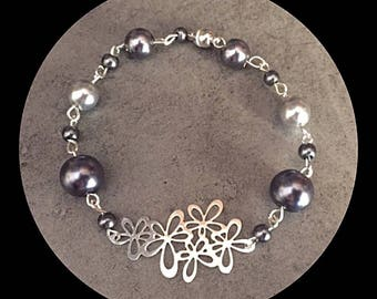 Glass beaded bracelet and watermarked print flowers