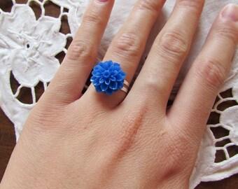 Resin - blue adjustable flower ring