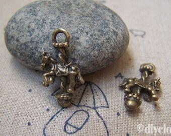 Bronze steampunk carousel horse pendant