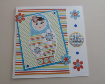handmade best wishes doll card, UK