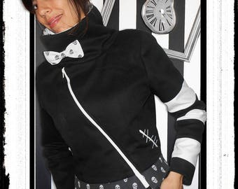 """""""Beetle juice"""": black and white jacket with stripes and skulls printed"""