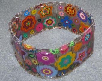 pop flower frieze shrink plastic bracelet