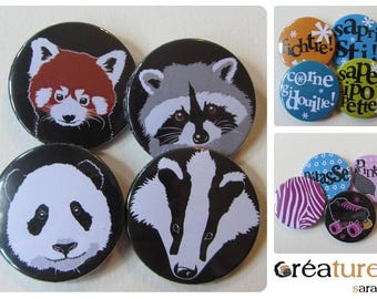 Set of 4 badges 38mm to choose from in the shop