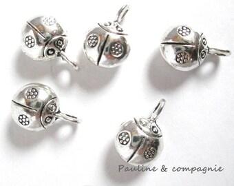 5 pendants Ladybug silver charms