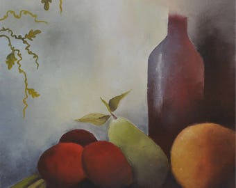 Oil on canvas: fruit alcohol