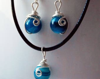 FREE UK SHIPPING - Blue Striped Agate and 925 Sterling Silver Wire Gift Set, astrological, birthstone, sagittarius, taurus, pisces, virgo
