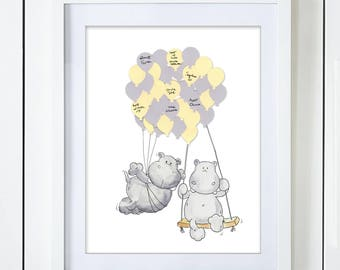 Twin Hippos Baby Shower Guest Book Alternative Boy Girl Neutral