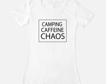Camping Caffeine Chaos Tee, Custom Cotton Tee