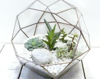 Glass Copper Globe Terrarium, Wedding Decoration, Indoor Succulent And Cacti Glass Planter, Modern Garden, Candle Holder Terrariums