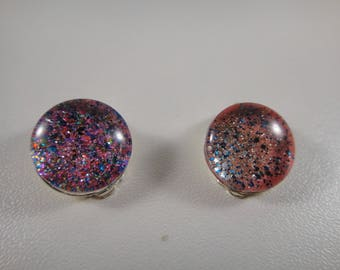 Pierced ear clips with hand made cabochons and therefore unique