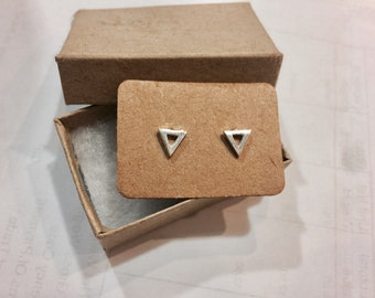 Open Triangle Studs -Tiny Triangle Stud Earrings Sterling Silver Post Earing Geometric Jewelry Tri Angle Earring Small Triangles Triangular