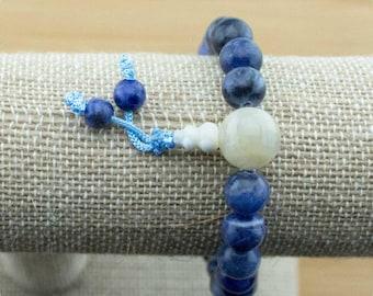 Sodalite Wrist Mala Bracelet with Moonstone | 8mm | Yoga Jewelry | Meditation Bracelet | Buddhist Mala Bracelet | Free Shipping