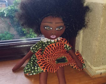 African American Natural hair fabric doll
