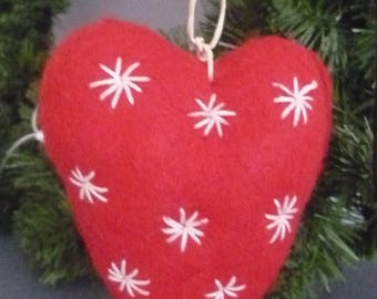 Red felt heart and embroidered white stars