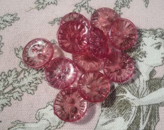 12 buttons pink translucent fancy 1.30 cm in diameter