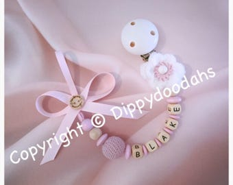 Personalised wooden dummy clip with crochet flower , baby girl, christening gift