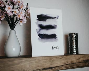 """Hand lettering print """"Breathe"""" din A4"""