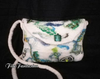 Handbag, bag, felted bag with beaded embroidered shoulder bag, evening bag