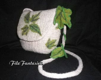 Handbag, bag with leaves, Nuno felted bag, bag in natural tones, Elf bag, shoulder bag
