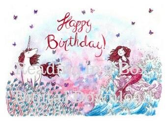 Happy Birthday Mermaid and Unicorn Card - Original Artist Print - digital download