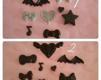 """Resin cabochons set for decoden. Style """"creepy cute"""""""