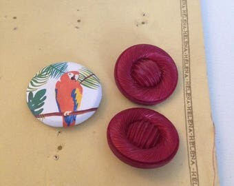 French vintage 2 iridescent pink buttons