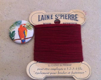 St Pierre darning on old red wool