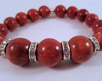 Gemstone bracelet made of foam coral and Strassrondelle