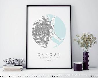 Cancun, Mexico Map, Cancun Map, Minimalist Map, Cancun Print, Cancun Poster, Cancun Art, Modern Map Print, Map of Cancun, Cancun Map Art