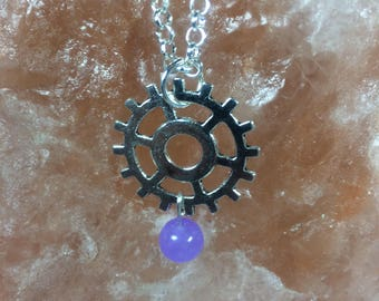 Steampunk pendant with silver metal cog, silverplated chain, lilac dyed jade bead