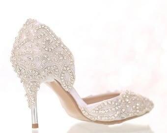 Custom Made Wedding Shoes Bridal Satin Crystals Rhinestone Pumps Heels Special Unique