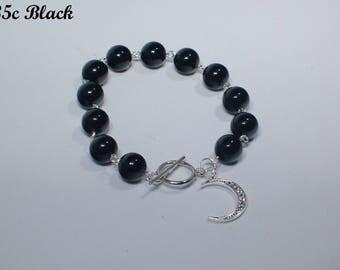 Black Agate Bracelet with Charm