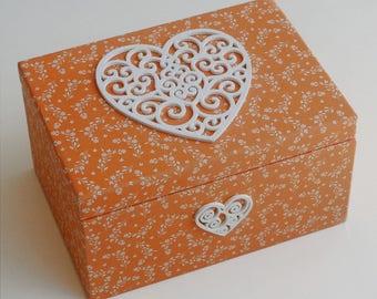 "Box ""Heart macrame"" wooden jewelry box"