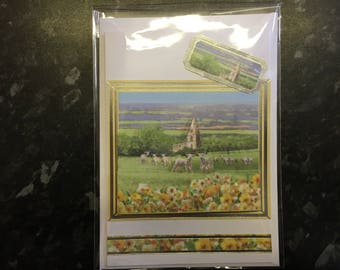 Traditional Style Spring or Easter Card with Lambs and village church scene