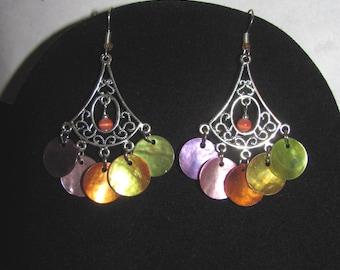 Earrings Bohemian Rainbow mother of Pearl sequins