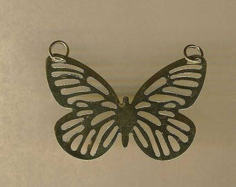 Filigree Butterfly connector gold pendant, 30/40 mm