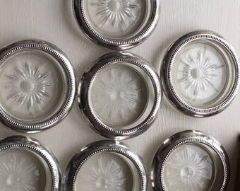 Vintage Silverplated and Glass Coasters