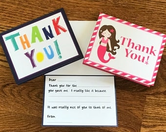 Personalized Kids fill in the blank thank you note cards.  Teach your kids how to write a thank you note without the hassle!