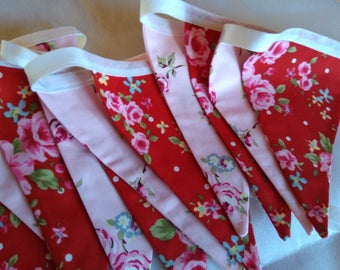 Red and pink floral bunting