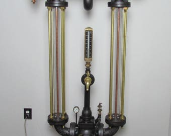 Original steampunk industrial electric pressure floor lamp.