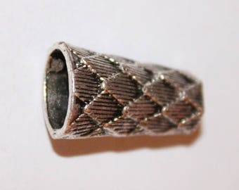silver tube Tibetan 12x23x8mm