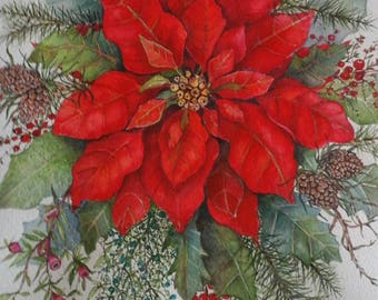 Poinsettia  with  winter flora