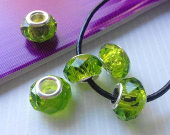 1 beautiful green veronese Swarovski AB Crystal faceted bead for PANDORA type