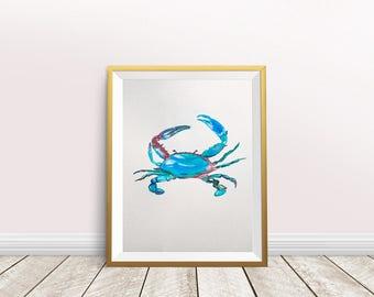 Blue Crab Art, Blue Crab Watercolor, Crab Print, Colorful Crab Illustration, Crab Art Print, Blue Crab Watercolor, Beach House Art