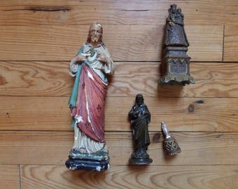 Lot vintage christ + corozo nut - religious art